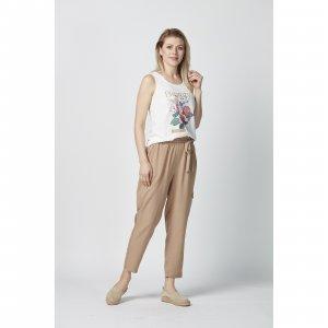 женский трикотажный костюм со штапельными брюками - код 16908