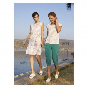 женский повседневный костюм двойка с трикотажными брюками - код 17135