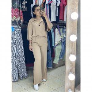женский трикотажный костюм с брюками - код 25616