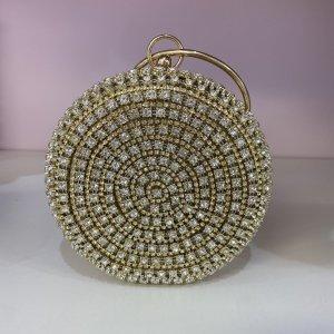 Сумка круглая золотая с камнями - код 27918